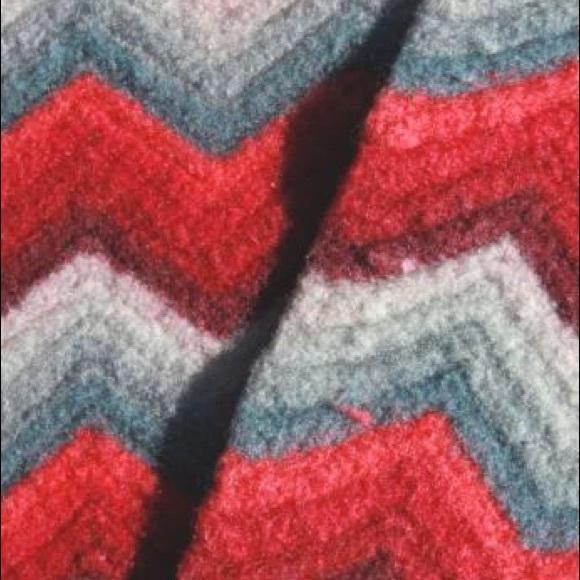vintage crochet wool afghan throw blanket,chevron